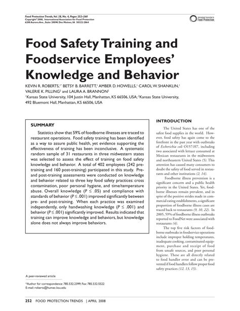 (PDF) Food safety training and foodservice employees