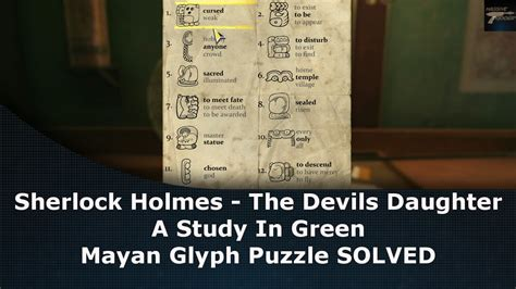 Sherlock Holmes The Devils Daughter Mayan Glyph Puzzle