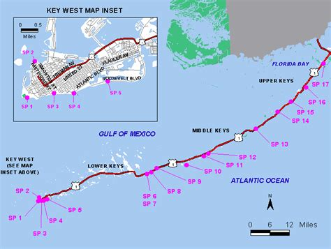 Florida Keys Map of Beaches including insert of Key West