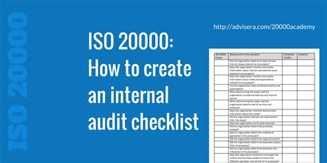 ISO 20000 – How to create an internal audit checklist