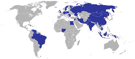Countries with embassies in North Korea [1425 x 625] : MapPorn