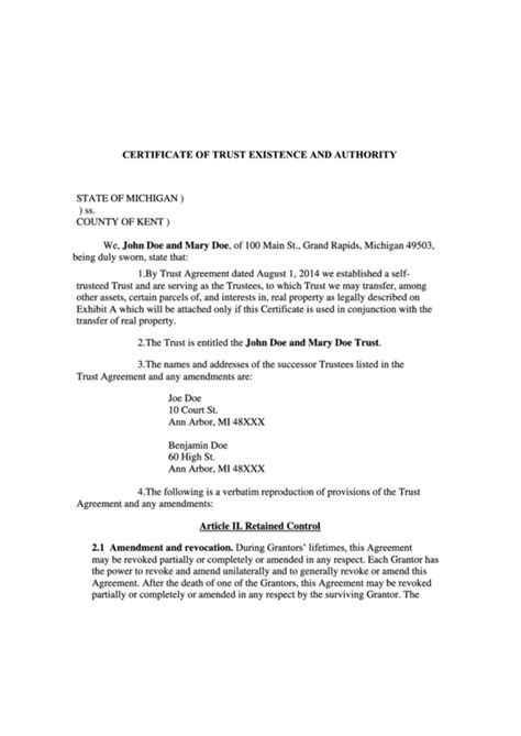 Certificate Of Trust Existence And Authority Form - State