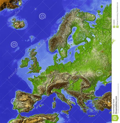 Europe, relief map stock illustration