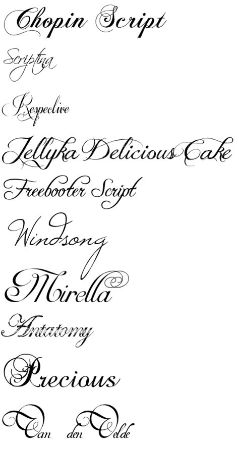 Calligraphy fonts from dafont