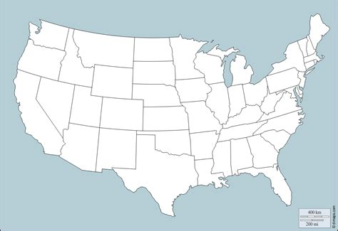 United States (USA) free map, free blank map, free outline